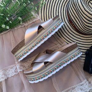 Bp. Rose Gold Braided Espadrille Platform Sandals